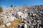Pogled na masivni suhozidni sjeverni bedem gradine V. Žuželj Miletina