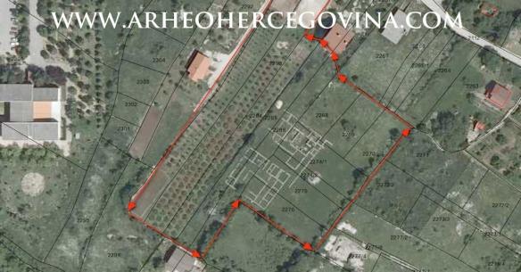 Crveno uokvireno polje predstavlja prvu zonu zaštite arheološkog lokaliteta Gračine. (Izradio I.D.)