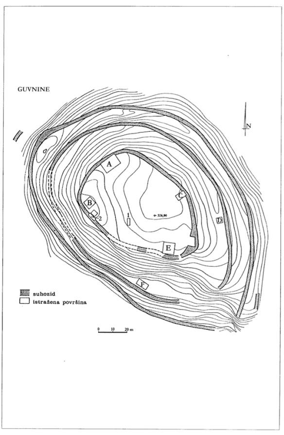 Geodetski plan gradinskog naselja Guvnine