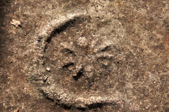 Prikaz astralnih motiva u plitkom reljefu na biligu s nekropole Lučine.