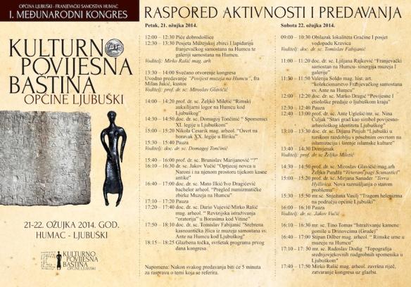 Raspored aktivnosti i predavanja na skupu posvećenom kulturno povijesnoj baštini općine Ljubuški