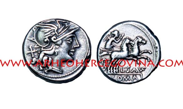Srebreni denar, L. Saufeius, 152. pr. Kr., kovnica Roma, nalazište Duvanjsko polje, avers glava Rome sa kacigom, revers prikaz Viktorije u bigi (dvopreg)