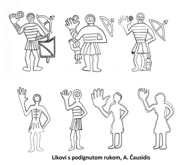 Likovi s podignutom rukom, Stolac, A. Čausidis