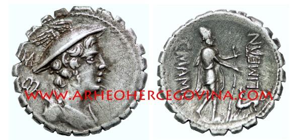 Denarius Serratus, srebreni nazubljeni denar serat, 82. pr. Kr. kovnica Roma, nalazište Duvanjsko polje, avers prikaz boga Merkura s kaducejom, revers prikaz Ulyssesa sa štapom i psom Argusom (foto I. Dragicevic)