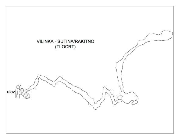 Tlocrt pećine Vilinka (izradio: Lj. Oreč)