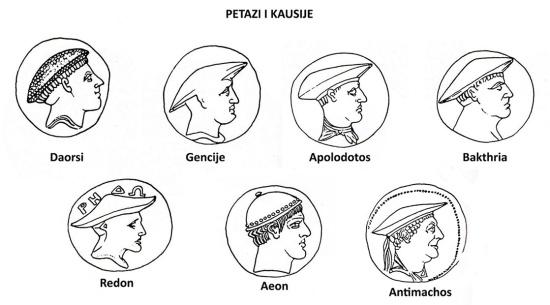 Petazi i kausije, prema Rendić-Miočević, 1989